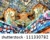detail from the Wat  Arun temple in Bangkok, Thailand - stock