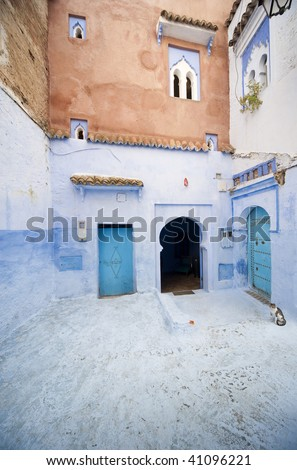 detail from typical street in Chefchaouen, in north of morocco - stock photo