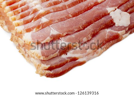 Detail image of heap of sliced meat on white background. - stock photo
