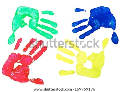Detail imprint blue, red, green and yellow hand on a white background - stock photo