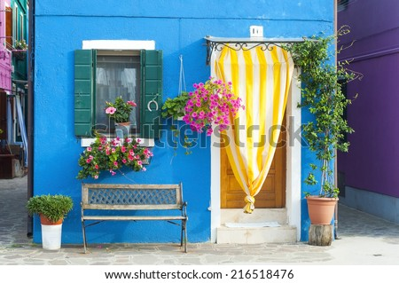 Detail in Burano, an island full of colors in the lagoon near Venice  - stock photo
