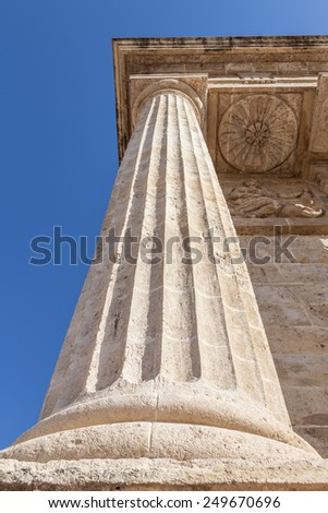 Detail in prospective of Roman columns, Italy - stock photo