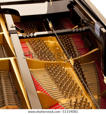 Detail inside the body of a black lacquered grand piano - stock photo