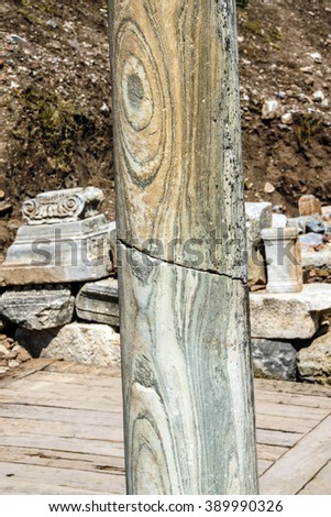 Detail marble column from ancient Greek agora  Ephesus, Turkey