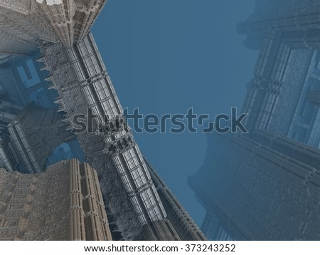 Detail od skyscraper in sci-fi (futuristic) city with peak disappearing in the mist - stock photo
