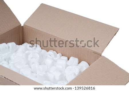 Detail of a cardboard box with polystyrene - stock photo