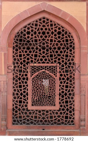 Detail of a carved window at Humayun's Tomb in Delhi, India