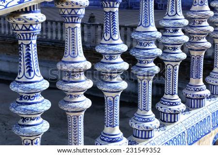 Detail of a ceramic balustrade, Plaza de Espana, Seville, Spain - stock photo