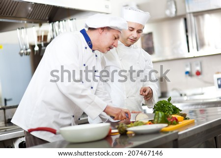 Detail of a Chef at work in his Kitchen - stock photo