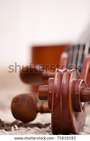 Detail of a classical cello in white background