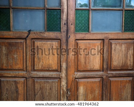 Detail of a closed wooden door