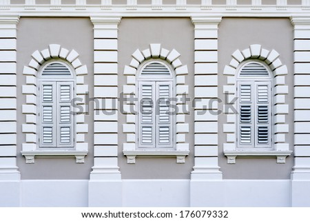 Detail of a colonial building in Singapore.  - stock photo