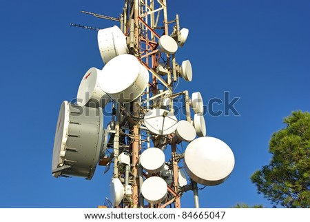 Detail of a communications broadcasting antenna in Spain - stock photo