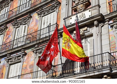 Detail of a decorated facade and balconies at the Palza Mayor, Madrid, Spain. - stock photo