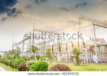 detail of a electrical substation  - stock photo