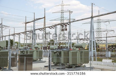 detail of a electrical substation in Southern Germany - stock photo