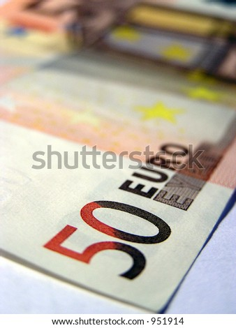 Detail of a 50 Euro banknote with big DOF