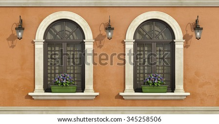 Detail of a facade with two arched windows with stone frame and flowers on the windowsill- 3D Rendering - stock photo