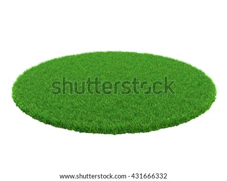 Detail of a field of green grass. Grass arena isolated on white background. High resolution 3d illustration - stock photo