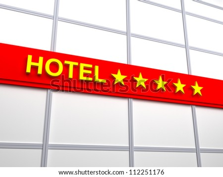 Detail of a five stars hotel. Red signboard with gold letters - stock photo