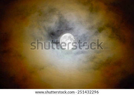 Detail of a glowing halo and full moon in the dark nightly sky.
