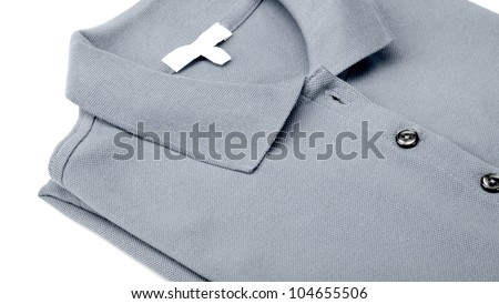 Detail of a gray polo shirt. - stock photo