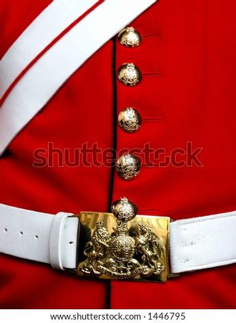 Detail of a Guardsman's uniform, London - stock photo