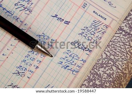 Detail of a handwritten ledger with pencil - stock photo