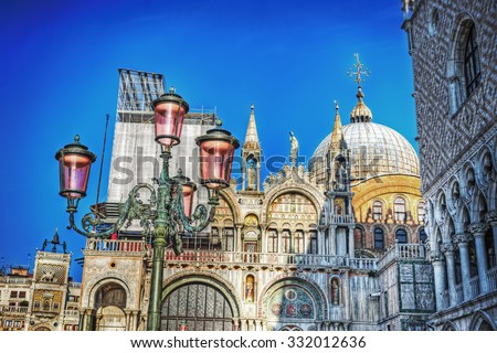 detail of a lamppost in San Marco Square in Venice, Italy - stock photo