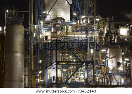 Detail of a large oil-refinery plant - stock photo
