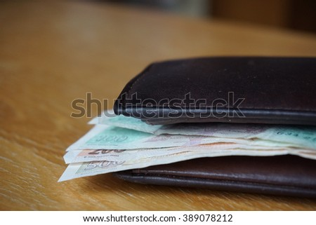 Detail of a leather wallet with cash money in it