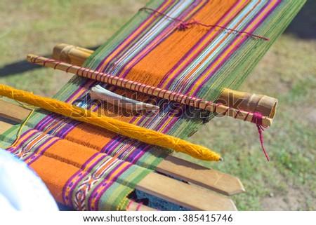 Detail of a loom in cuzco, peru.  - stock photo
