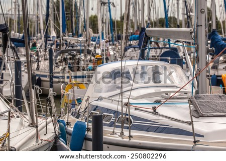 Detail of a Luxury Sailing Boat in a Marina in the Netherlandsg - stock photo