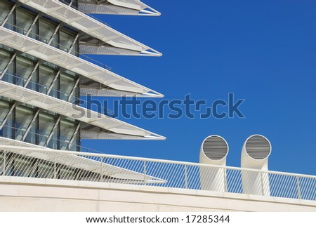 Detail of a modern building placed in Expo Zaragoza 2008 - stock photo
