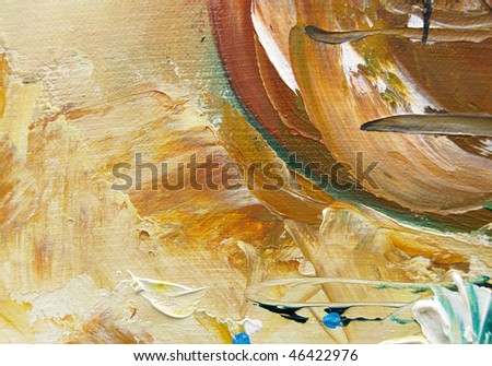 Detail of a multicolored oil painting - stock photo