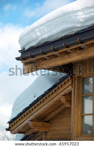 Detail of a nice ski resort chalet - stock photo