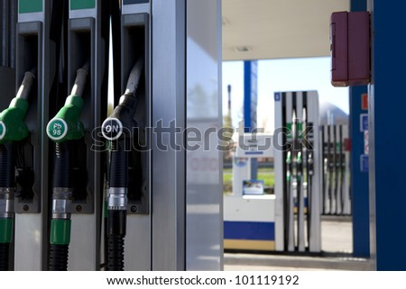 Detail of a petrol pump in a petrol station - stock photo