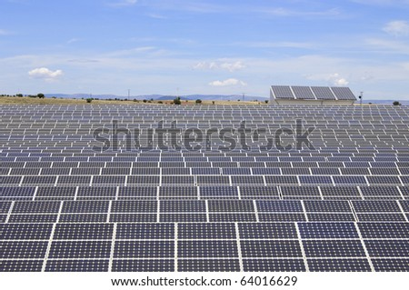 detail of a photovoltaic panels for electricity production - stock photo