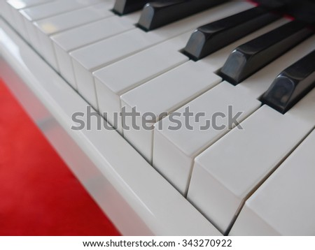 Detail of a piano keyboard with black and white keys. Music concept
