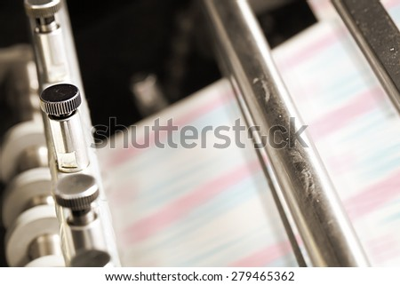 Detail of a printing press - stock photo