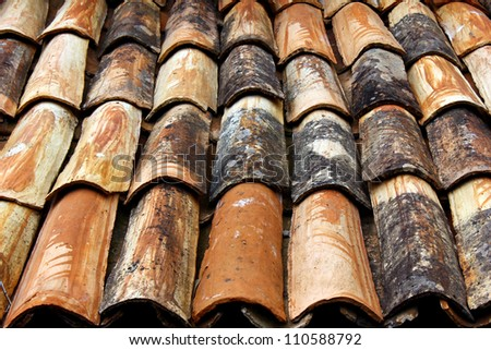 Detail of a roof at a small portuguese village - stock photo