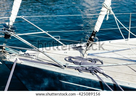 Detail of a sailing boat - stock photo