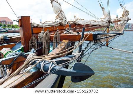 detail of a sailing ship - stock photo