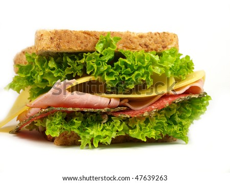 detail of a sandwich with ham, cheese and salad