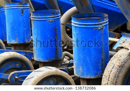 Detail of a seeding machine - stock photo