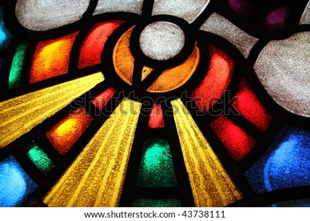 Detail of a stained glass window 3 - stock photo