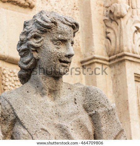 Detail of a statue in a Sicilian baroque church