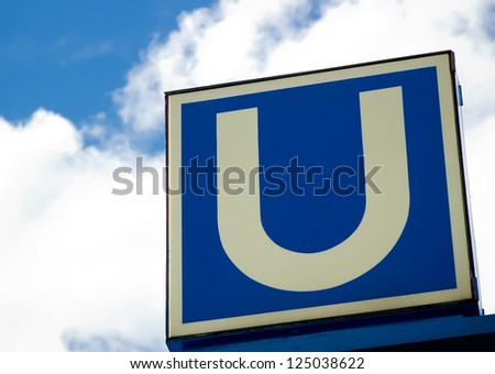 Detail of a subway sign in Hamburg. - stock photo