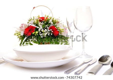 Detail of a table set for a wedding dinner - stock photo