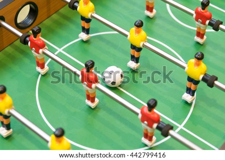 Detail of a table soccer game - stock photo